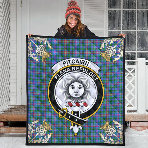 Image of Pitcairn Hunting Clan Crest Tartan Scotland Thistle Gold Pattern Premium Quilt