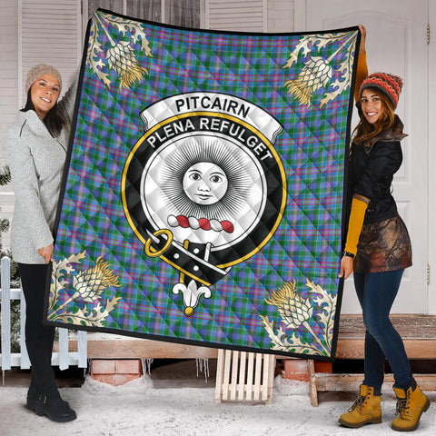Image of Pitcairn Hunting Clan Crest Tartan Scotland Thistle Gold Pattern Premium Quilt K9