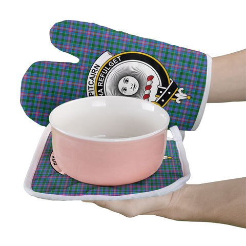 Pitcairn Hunting Clan Crest Tartan Scotland Oven Mitt And Pot-Holder (Set Of Two)
