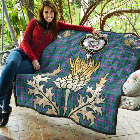 Image of Pitcairn Hunting Clan Crest Tartan Scotland Thistle Gold Royal Premium Quilt K9