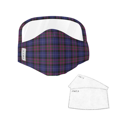 Pride of Scotland Tartan Face Mask With Eyes Shield - Violet  Plaid Mask TH8 TH8