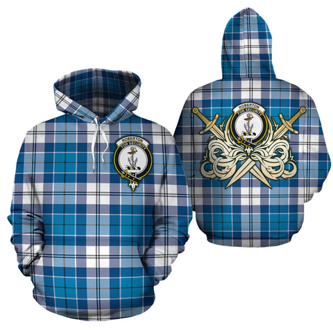 Roberton Clan Crest Tartan Scottish Gold Thistle Hoodie