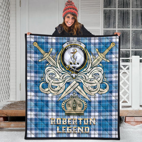 Roberton Clan Crest Tartan Scotland Clan Legend Gold Royal Premium Quilt