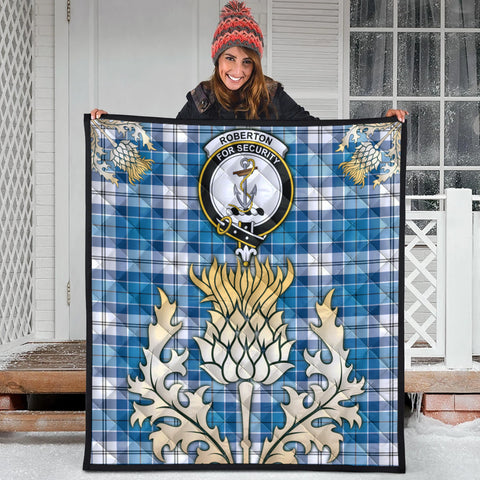 Image of Roberton Clan Crest Tartan Scotland Thistle Gold Royal Premium Quilt