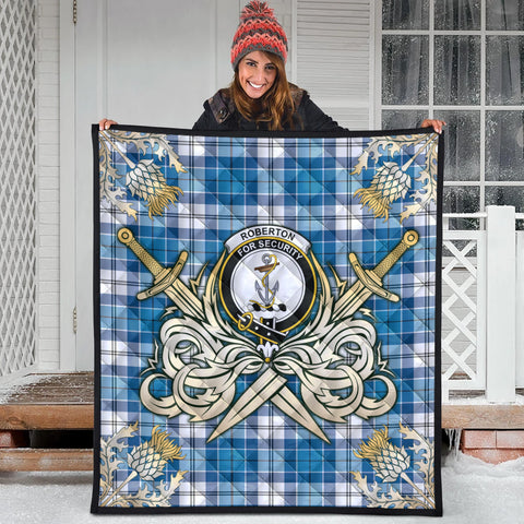 Image of Roberton Clan Crest Tartan Scotland Thistle Symbol Gold Royal Premium Quilt