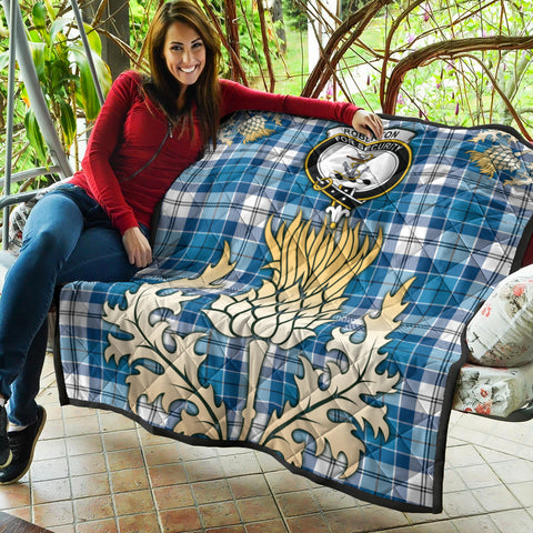 Image of Roberton Clan Crest Tartan Scotland Thistle Gold Royal Premium Quilt K9
