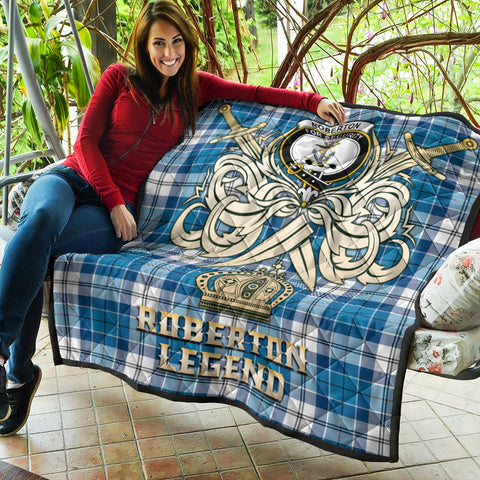 Roberton Clan Crest Tartan Scotland Clan Legend Gold Royal Premium Quilt K9