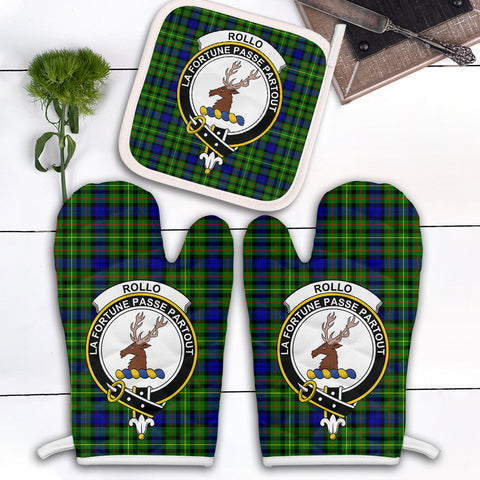Image of Rollo Modern Clan Crest Tartan Scotland Oven Mitt And Pot-Holder (Set Of Two)