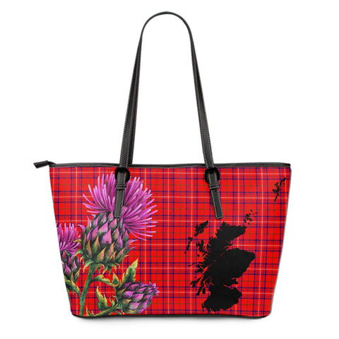 Rose Modern Tartan Leather Tote Bag Thistle Scotland Maps A91