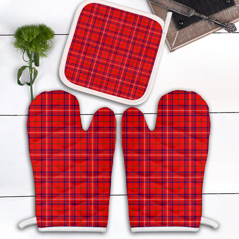 Rose Modern Clan Tartan Scotland Oven Mitt And Pot-Holder (Set Of Two)