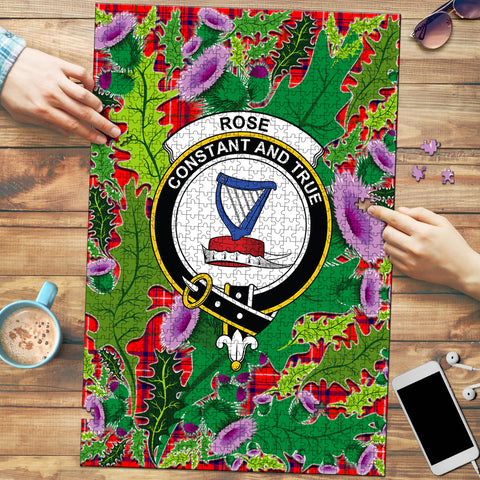 Image of Rose Modern Clan Crest Tartan Thistle Pattern Scotland Jigsaw Puzzle