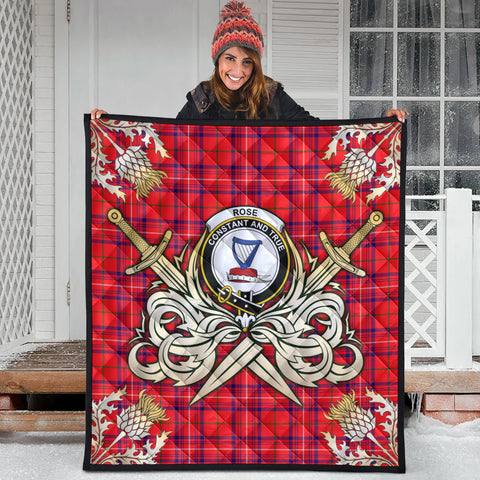 Rose Modern Clan Crest Tartan Scotland Thistle Symbol Gold Royal Premium Quilt