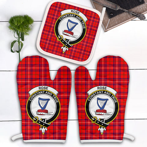 Rose Modern Clan Crest Tartan Scotland Oven Mitt And Pot-Holder (Set Of Two)