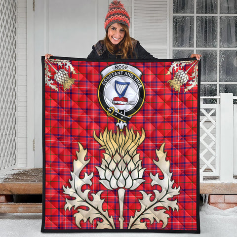 Rose Modern Clan Crest Tartan Scotland Thistle Gold Royal Premium Quilt