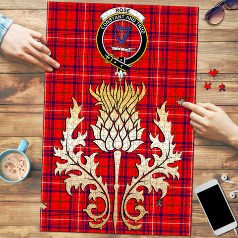 Image of Rose Modern Clan Crest Tartan Thistle Gold Jigsaw Puzzle
