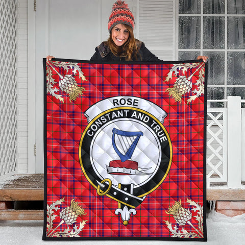 Image of Rose Modern Clan Crest Tartan Scotland Thistle Gold Pattern Premium Quilt