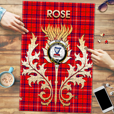 Image of Rose Modern Clan Name Crest Tartan Thistle Scotland Jigsaw Puzzle