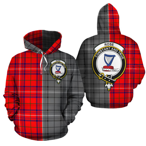 Rose Modern Clan Half Of Me New Version Crest Tartan Hoodie