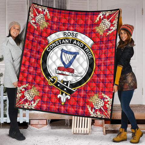 Image of Rose Modern Clan Crest Tartan Scotland Thistle Gold Pattern Premium Quilt K9
