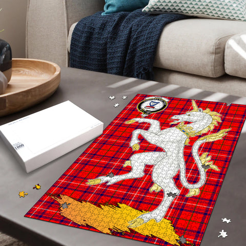 Image of Rose Modern Clan Crest Tartan Unicorn Scotland Jigsaw Puzzle
