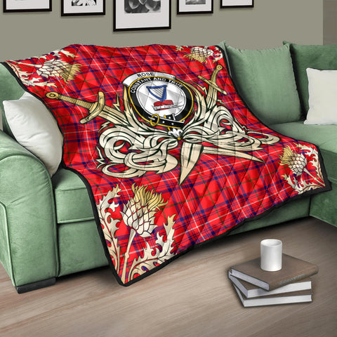 Rose Modern Clan Crest Tartan Scotland Thistle Symbol Gold Royal Premium Quilt K9