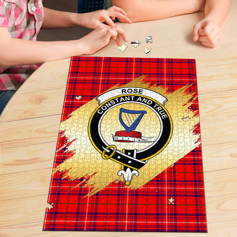 Image of Rose Modern Clan Crest Tartan Jigsaw Puzzle Gold