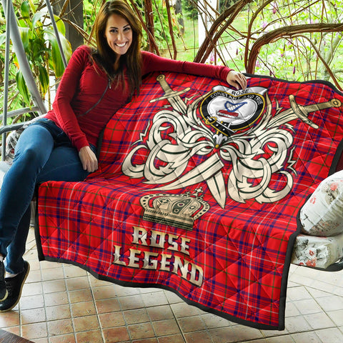 Rose Modern Clan Crest Tartan Scotland Clan Legend Gold Royal Premium Quilt K9