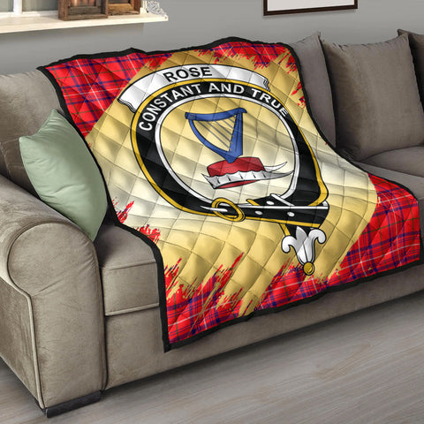 Rose Modern Clan Crest Tartan Scotland Gold Royal Premium Quilt K9