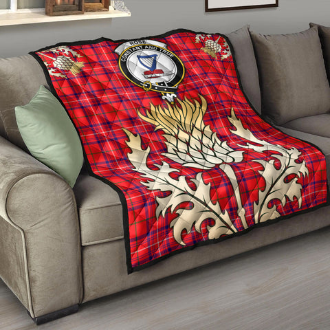 Rose Modern Clan Crest Tartan Scotland Thistle Gold Royal Premium Quilt K9
