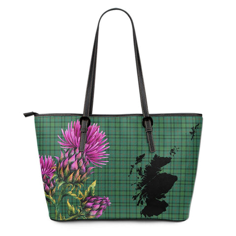 Ross Hunting Ancient Tartan Leather Tote Bag Thistle Scotland Maps A91