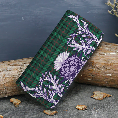 Ross Hunting Modern Tartan Wallet Women's Leather Thistle A91