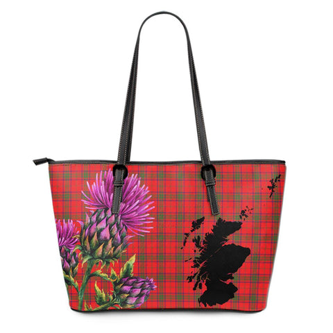Ross Modern Tartan Leather Tote Bag Thistle Scotland Maps A91