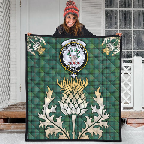 Ross Hunting Ancient Clan Crest Tartan Scotland Thistle Gold Royal Premium Quilt