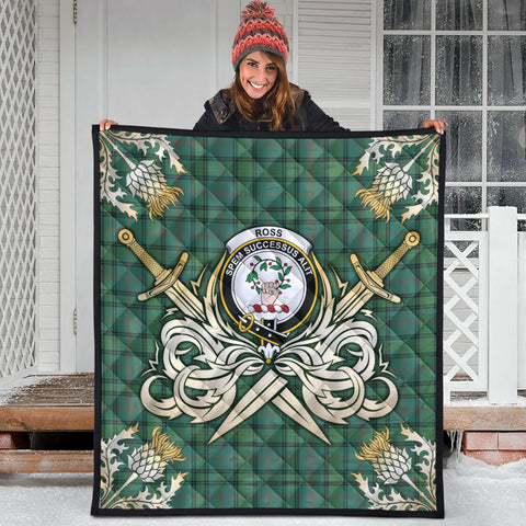 Ross Hunting Ancient Clan Crest Tartan Scotland Thistle Symbol Gold Royal Premium Quilt