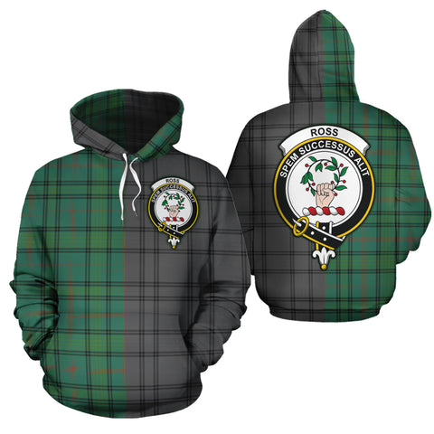 Ross Hunting Ancient Clan Half Of Me New Version Crest Tartan Hoodie