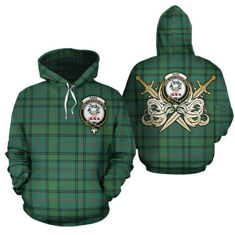 Ross Hunting Ancient Clan Crest Tartan Scottish Gold Thistle Hoodie