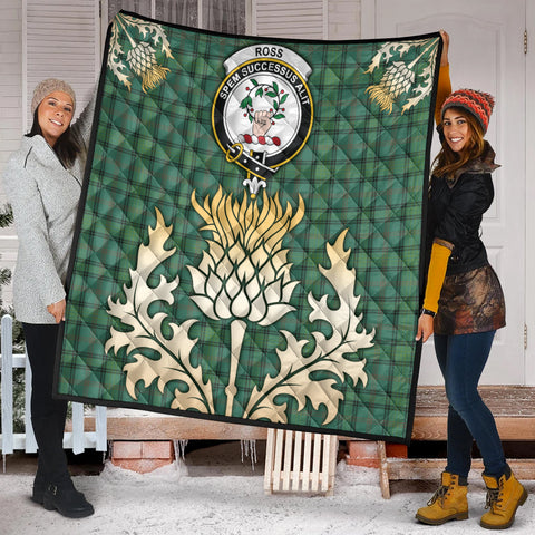 Ross Hunting Ancient Clan Crest Tartan Scotland Thistle Gold Royal Premium Quilt K9