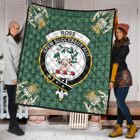 Image of Ross Hunting Ancient Clan Crest Tartan Scotland Thistle Gold Pattern Premium Quilt K9