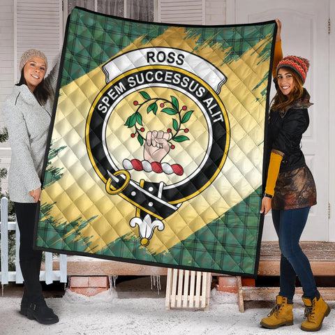 Ross Hunting Ancient Clan Crest Tartan Scotland Gold Royal Premium Quilt K9