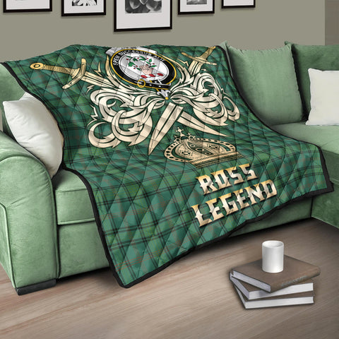 Image of Ross Hunting Ancient Clan Crest Tartan Scotland Clan Legend Gold Royal Premium Quilt K9