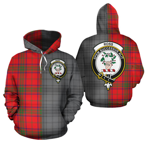 Ross Modern Clan Half Of Me New Version Crest Tartan Hoodie