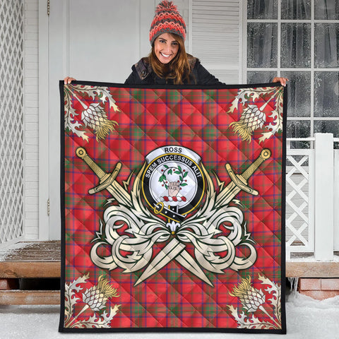 Ross Modern Clan Crest Tartan Scotland Thistle Symbol Gold Royal Premium Quilt