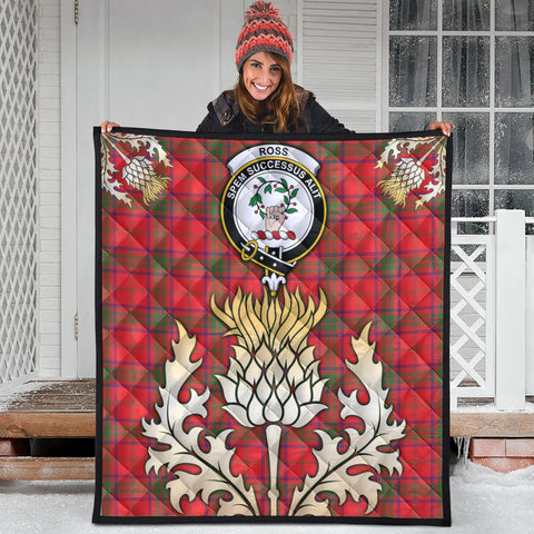 Ross Modern Clan Crest Tartan Scotland Thistle Gold Royal Premium Quilt
