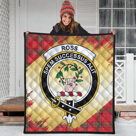 Ross Modern Clan Crest Tartan Scotland Gold Royal Premium Quilt