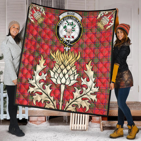 Ross Modern Clan Crest Tartan Scotland Thistle Gold Royal Premium Quilt K9