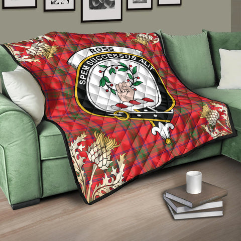Image of Ross Modern Clan Crest Tartan Scotland Thistle Gold Pattern Premium Quilt K9