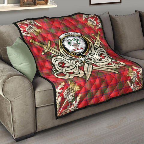 Ross Modern Clan Crest Tartan Scotland Thistle Symbol Gold Royal Premium Quilt K9