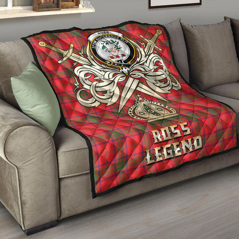 Ross Modern Clan Crest Tartan Scotland Clan Legend Gold Royal Premium Quilt K9