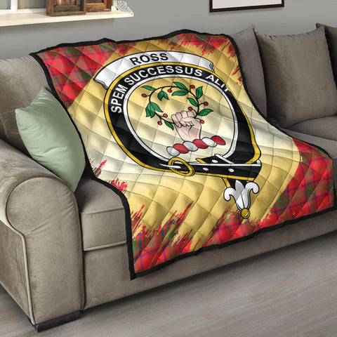 Ross Modern Clan Crest Tartan Scotland Gold Royal Premium Quilt K9