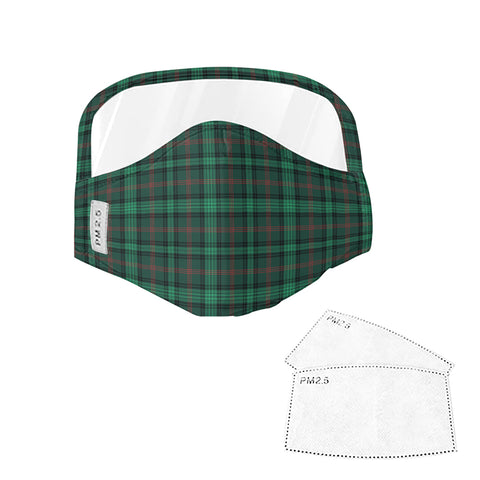Ross Hunting Modern Tartan Face Mask With Eyes Shield - Green  Plaid Mask TH8